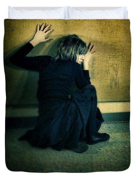 Frightened Woman Duvet Cover by Jill Battaglia