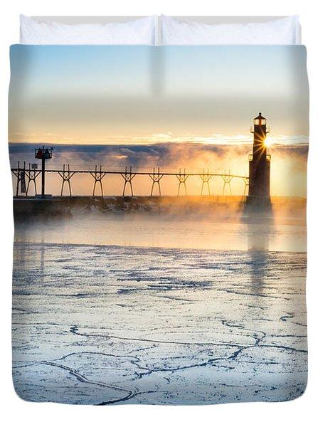 Frigid Sunrise Fog  Duvet Cover