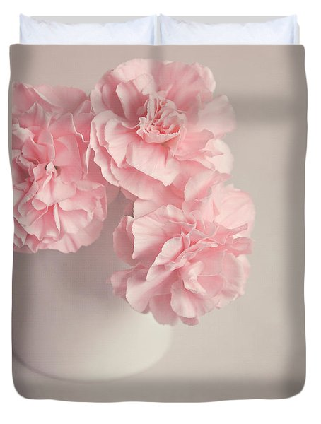 Frilly Pink Carnations Duvet Cover