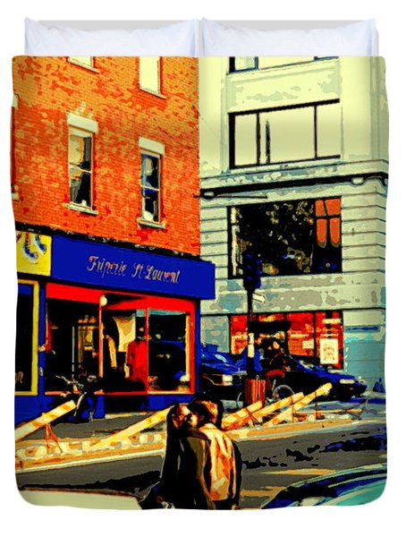 Friperie St.laurent Clothing Variety Dress Shop Downtown Corner Store City Scene Montreal Art Duvet Cover by Carole Spandau