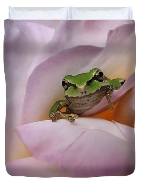 Duvet Cover featuring the photograph Frog And Rose Photo 1 by Cheryl Hoyle