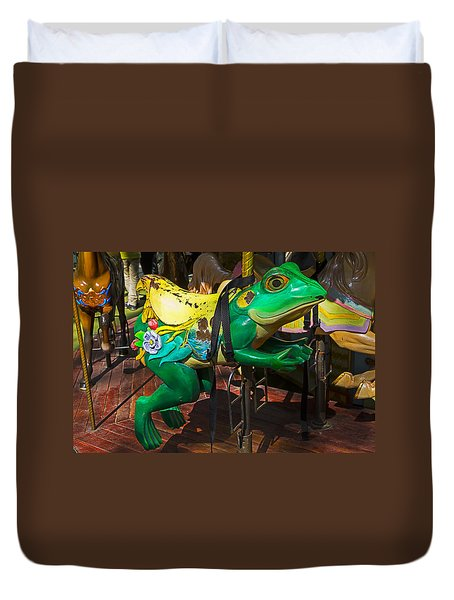 Frog Carrousel Ride Duvet Cover by Garry Gay
