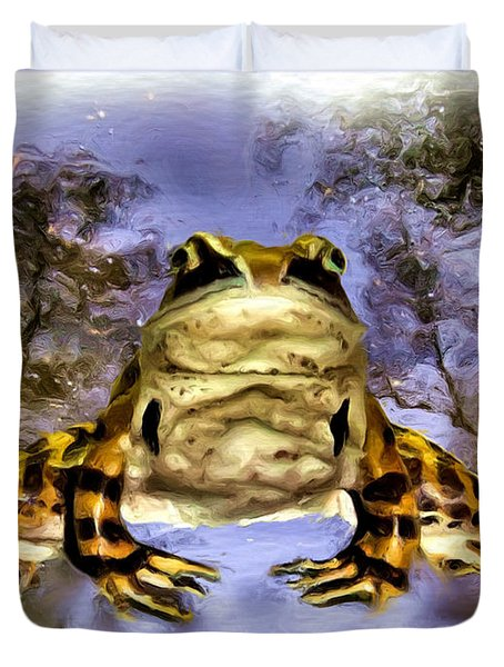 Duvet Cover featuring the digital art Frog by Daniel Janda