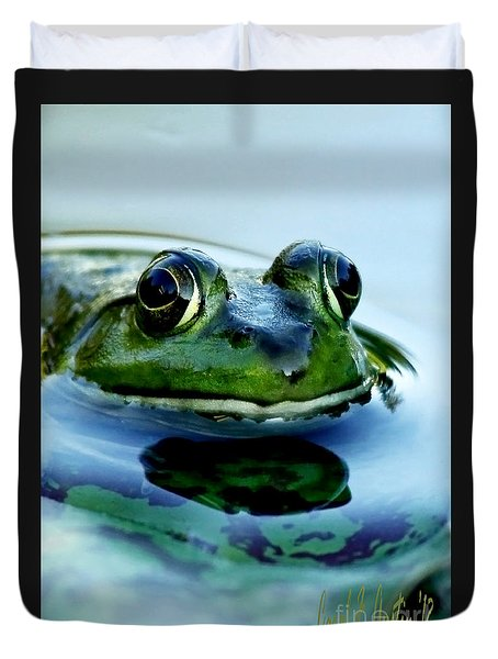 Green Frog I Only Have Eyes For You Duvet Cover