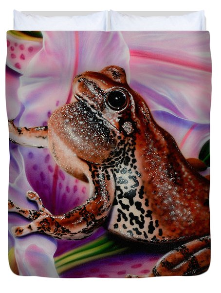Frog Flower Duvet Cover
