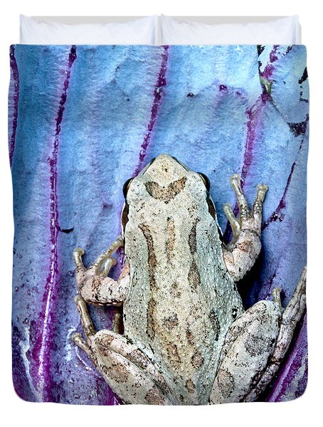 Frog On Cabbage Duvet Cover by Jean Noren