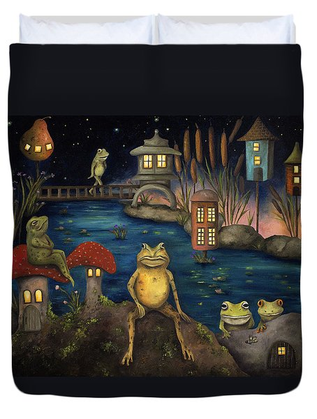 Frogland Duvet Cover by Leah Saulnier The Painting Maniac