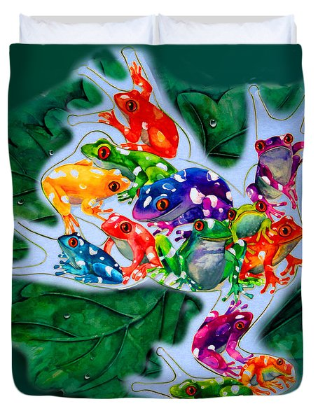 Frogs Duvet Cover by Sherry Shipley