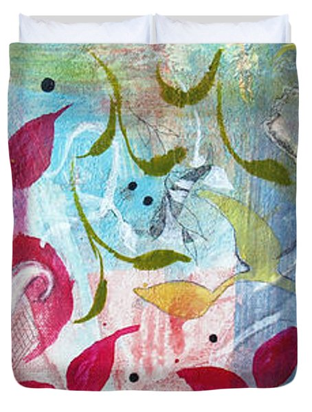 Duvet Cover featuring the painting Frolic by Robin Maria Pedrero