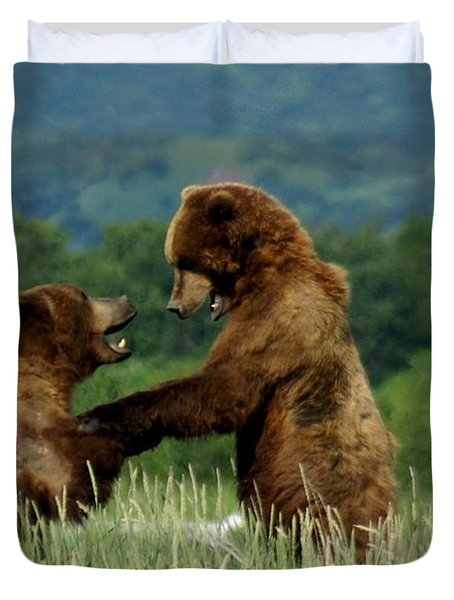 Frolicking Grizzly Bears Duvet Cover by Patricia Twardzik