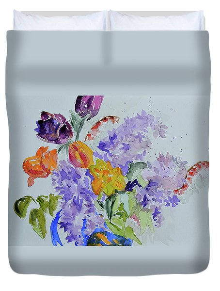 Duvet Cover featuring the painting From Grammy's Garden by Beverley Harper Tinsley