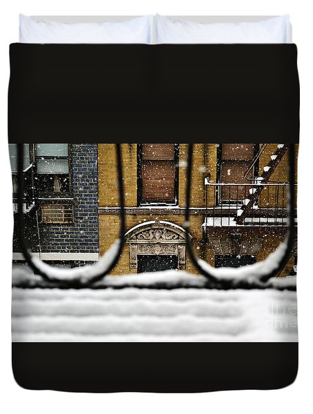 From My Fire Escape - Arches In The Snow Duvet Cover by Miriam Danar
