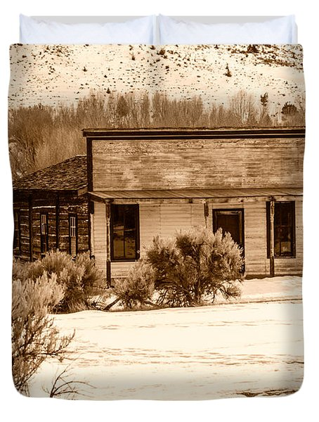 From Saloon To Store Front And Home In Sepia Duvet Cover