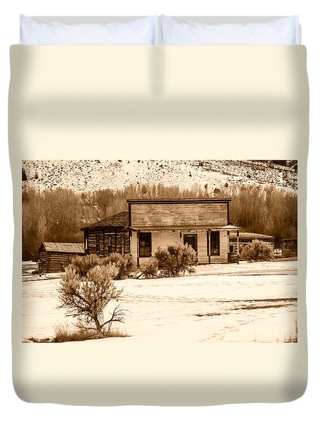From Saloon To Store Front And Home In Sepia Duvet Cover by Sue Smith