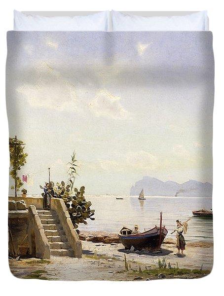 From Sorrento Towards Capri Duvet Cover by Peder Monsted