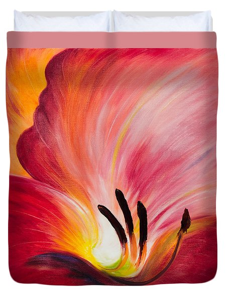 From The Heart Of A Flower Red I Duvet Cover