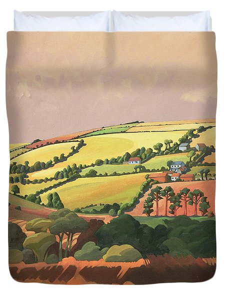 From The Train, South Devon, No.1 Oil On Canvas Duvet Cover
