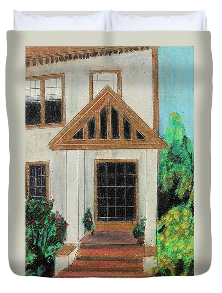 Duvet Cover featuring the painting Front Door 1 by Jeanne Fischer