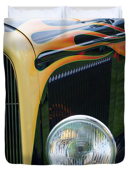 Duvet Cover featuring the photograph Front Of Hot Rod Car by Gunter Nezhoda