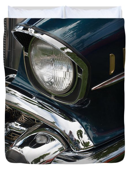 Duvet Cover featuring the photograph Front Side Of A Classic Car by Gunter Nezhoda