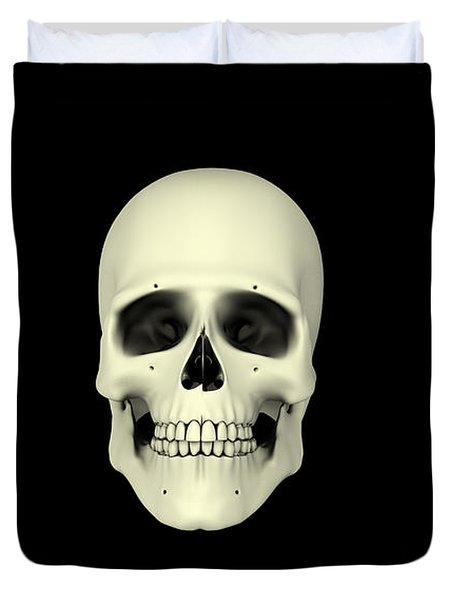 Front View Of Human Skull Duvet Cover by Stocktrek Images