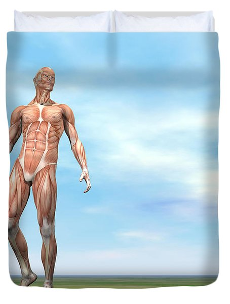 Front View Of Male Musculature Walking Duvet Cover