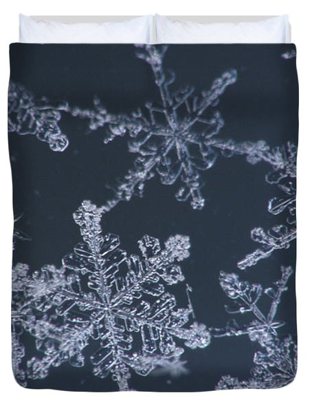 Frost Crystal On Glass Kodiak Isl Duvet Cover by Marion Owen