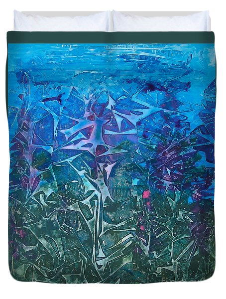 Lagoon Bloom Duvet Cover by Heather  Hiland