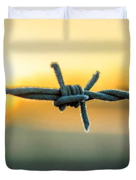 Frost On Barbed Wire At Sunrise Duvet Cover