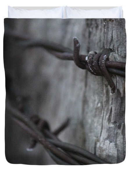 Duvet Cover featuring the photograph Frost On The Wire by Ann E Robson