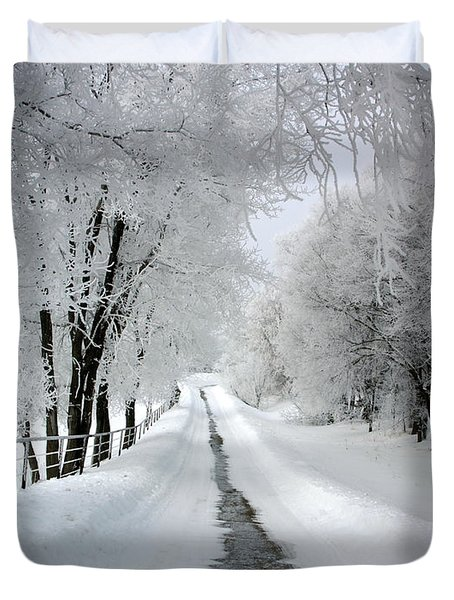The Long Frosted Road Duvet Cover