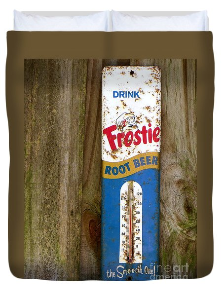 Duvet Cover featuring the photograph Frostie Root Beer  by Joy Hardee