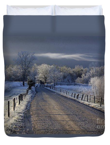 Duvet Cover featuring the photograph Frosty Cades Cove Hdr by Douglas Stucky