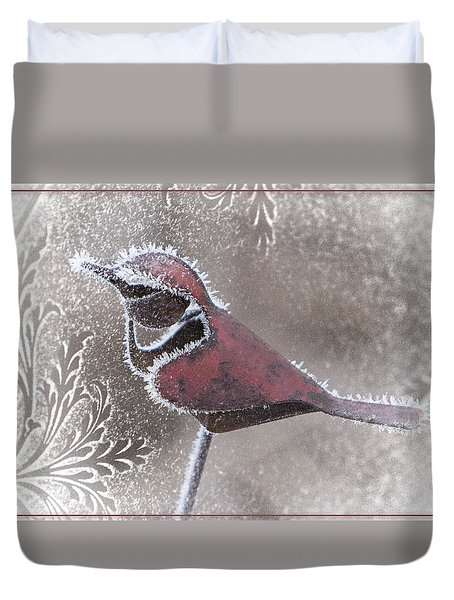 Frosty Cardinal Duvet Cover by Patti Deters