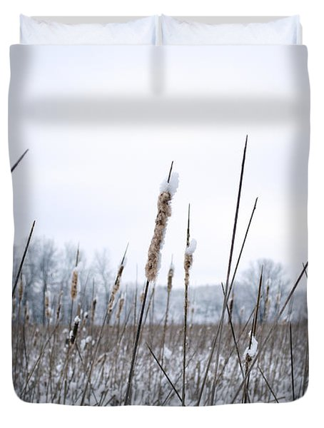 Frosty Cattails Duvet Cover