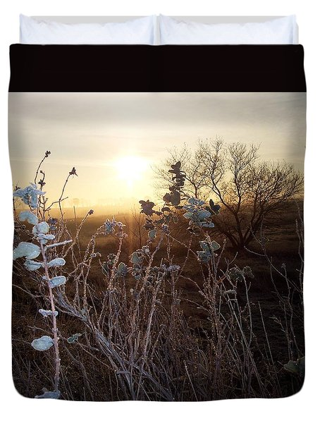 Duvet Cover featuring the photograph Frosty Leaves At Sunrise by Mary Wolf
