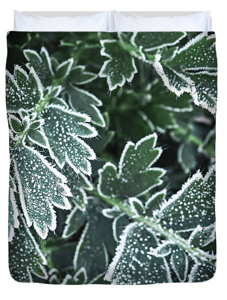 Frosty Leaves In Late Fall Duvet Cover
