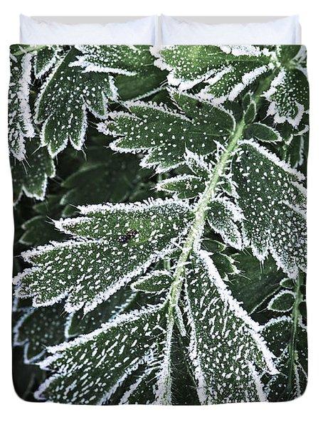Frosty Leaves Macro Duvet Cover