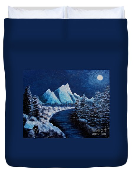 Frosty Night In The Mountains Duvet Cover by Barbara Griffin
