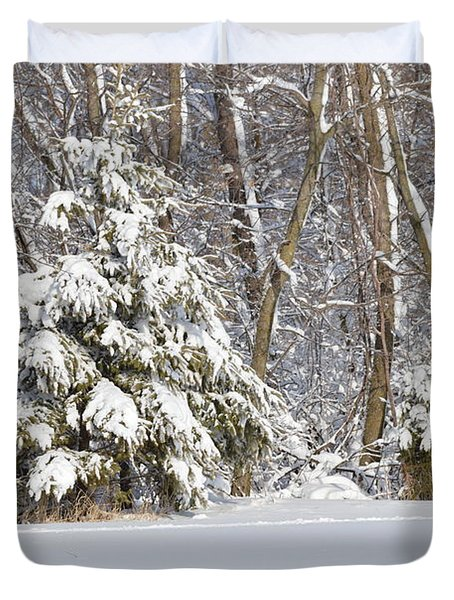 Duvet Cover featuring the photograph Frosty Pine by Dacia Doroff