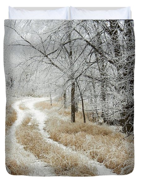 Duvet Cover featuring the photograph Frosty Trail 2 by Penny Meyers