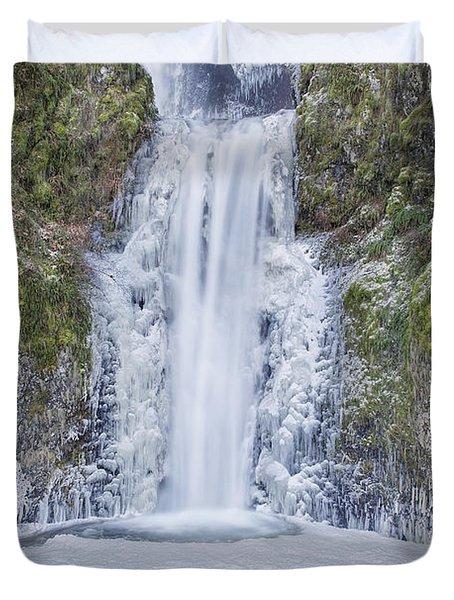 Frozen At Multnomah Falls Duvet Cover by David Gn