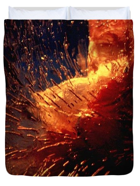 Duvet Cover featuring the photograph Frozen Carnation by Randi Grace Nilsberg