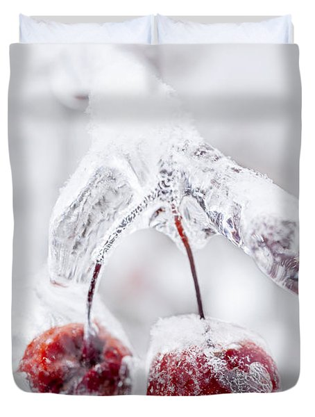 Frozen Crab Apples On Icy Branch Duvet Cover