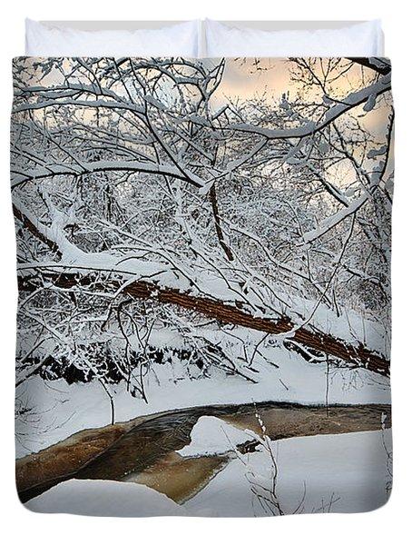 Frozen Creek Duvet Cover by Sebastian Musial