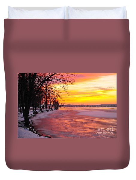 Duvet Cover featuring the photograph Frozen Dawn At Lake Cadillac  by Terri Gostola