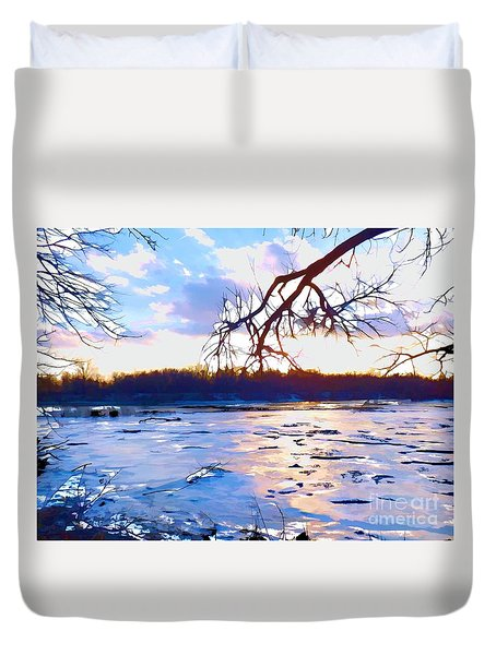 Frozen Delaware River Sunset Duvet Cover by Robyn King