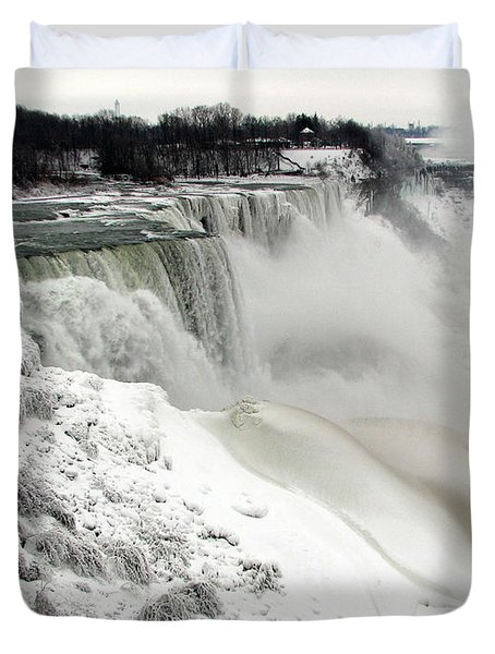 Frozen Niagara And Bridal Veil Falls Duvet Cover