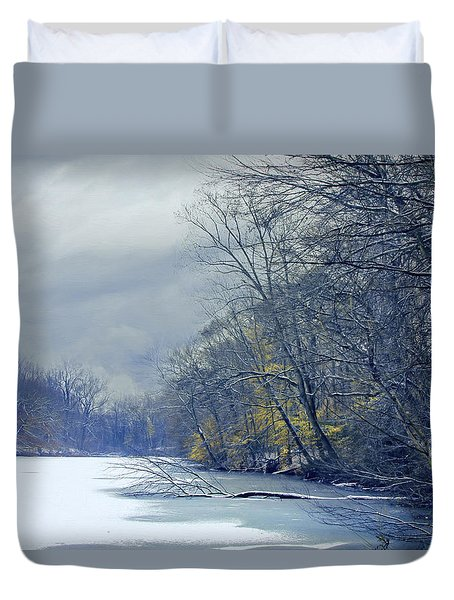 Duvet Cover featuring the photograph Frozen Pond by John Rivera