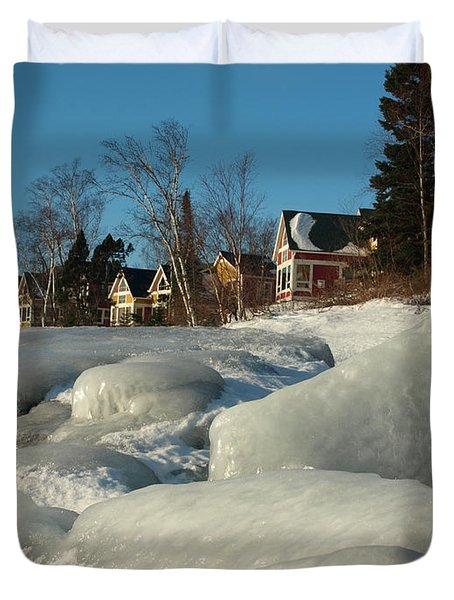 Duvet Cover featuring the photograph Frozen Surf by James Peterson